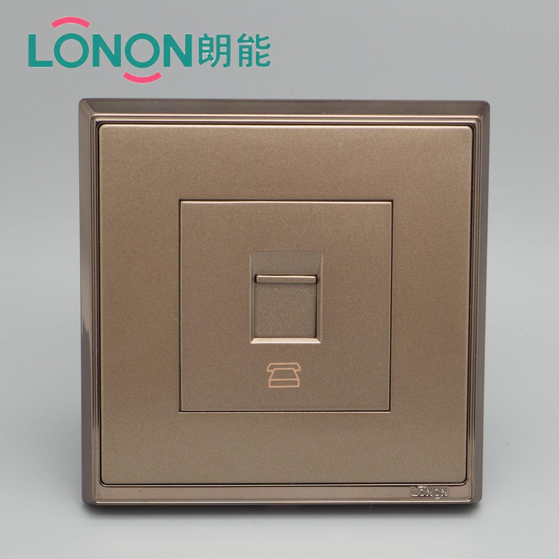 朗能电工 S7电镀玫瑰金钢架系列电话墙壁开关面板
