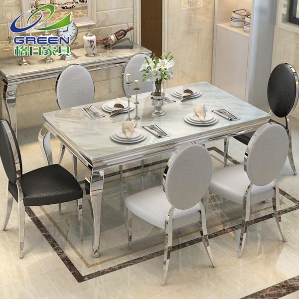 餐桌椅组合大理石餐桌6人现代简约小户型不锈钢长方形饭桌子108