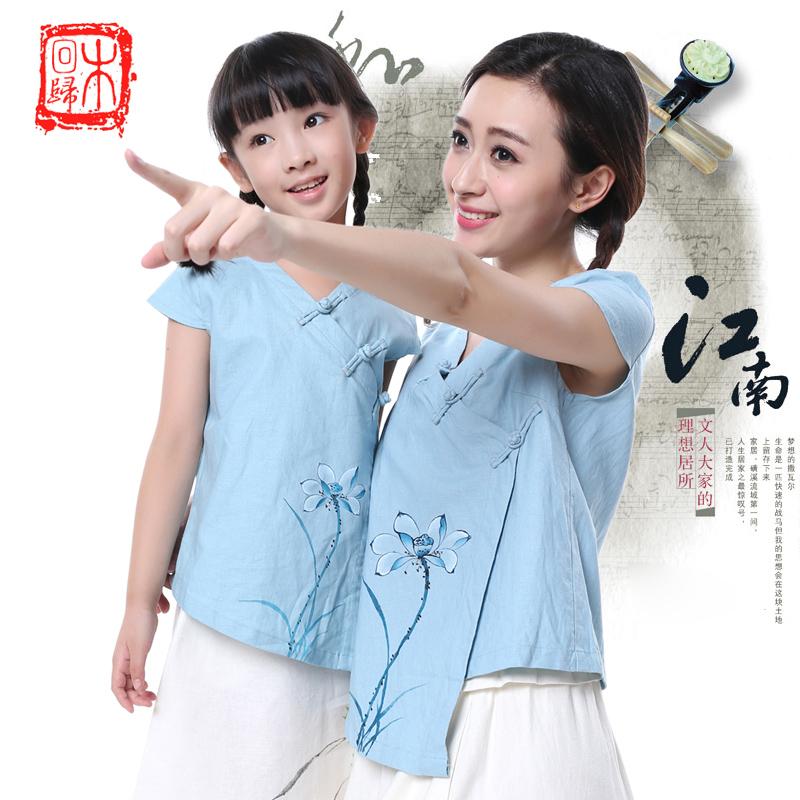 新款中国风唐装女装 复古棉麻民族风母女亲子装童装文化服装上衣