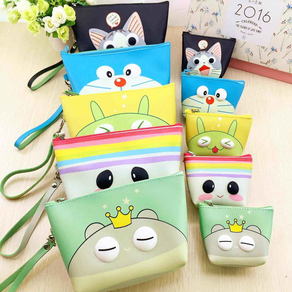 一件包邮 韩国创意可爱卡通萌萌PU材质零钱包收纳包钥匙包 化妆包图片