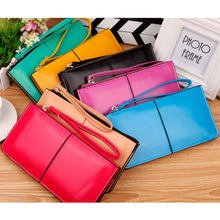 New ms han edition zipper leather wallet phones bag lady's hand bag long money card bag handbag zero wallet