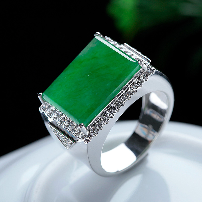 Jiandaoqian 18K gold ring set with Yang green square brand platinum gold diamond ring c09-28