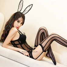 Garter straps sexy open-legged stockings legs stockings sexy transparent underwear temptations one-piece mesh rabbit ears