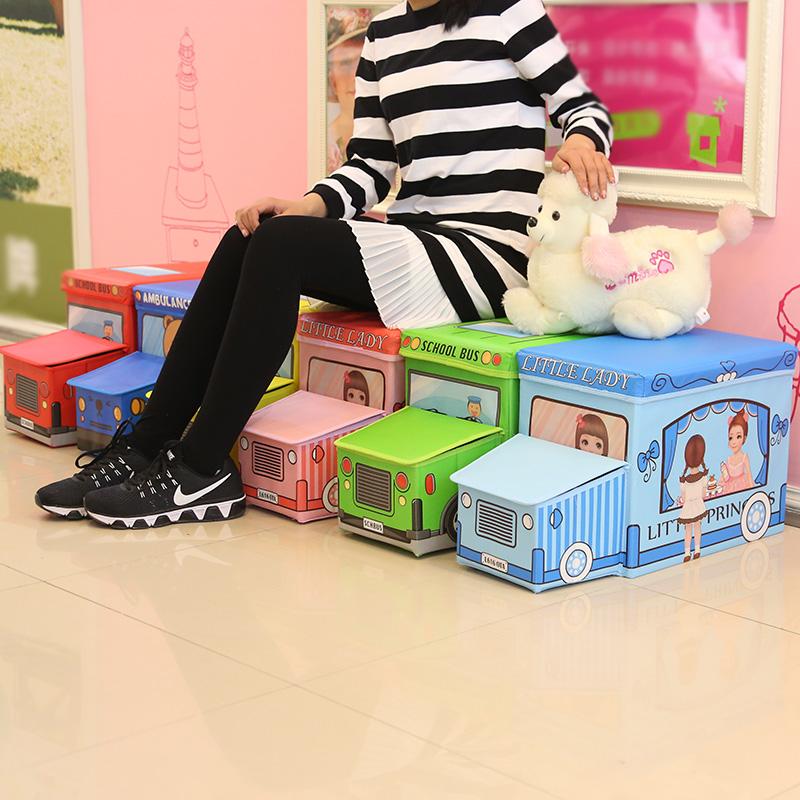 兒童寶寶可愛卡通玩具有蓋收納箱汽車收納凳儲物凳換鞋凳可坐人