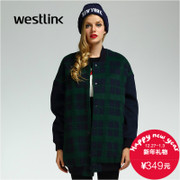 Westlink/2015 winter long Plaid baseball uniform in New West dropped shoulders loose thick woman coat
