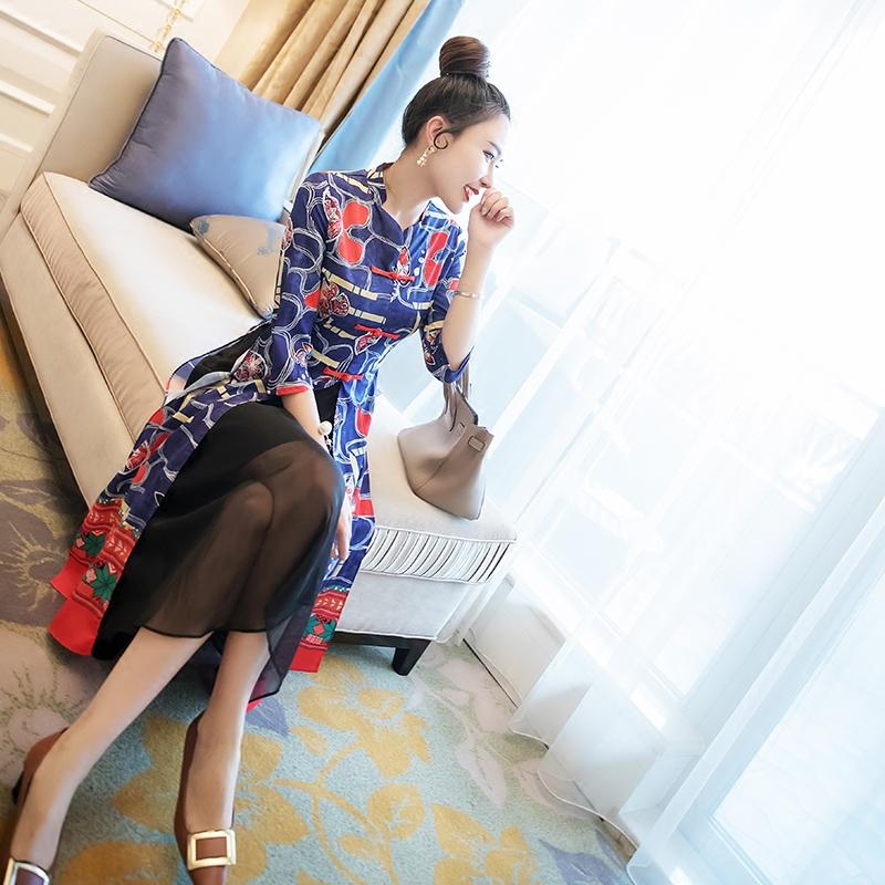 BINBIN китайский стиль дамы ветер 2018 весна новая девушка устанавливается в рукав отпуск cheongsam юбка платье волна