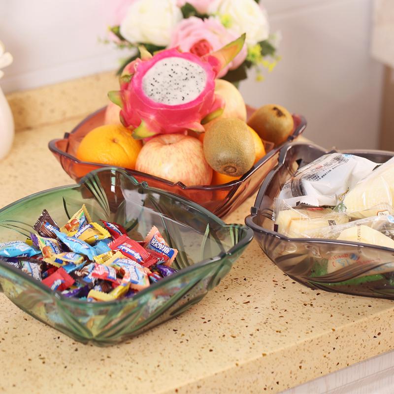 大號仿水晶玻璃KTV塑料果盤 客廳 歐式家用幹水果盆透明鬥
