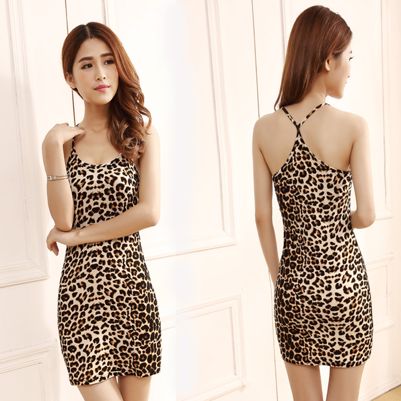 New spring and summer Korean womens suspender medium length leopard print vest skirt with large sexy y-neck skirt