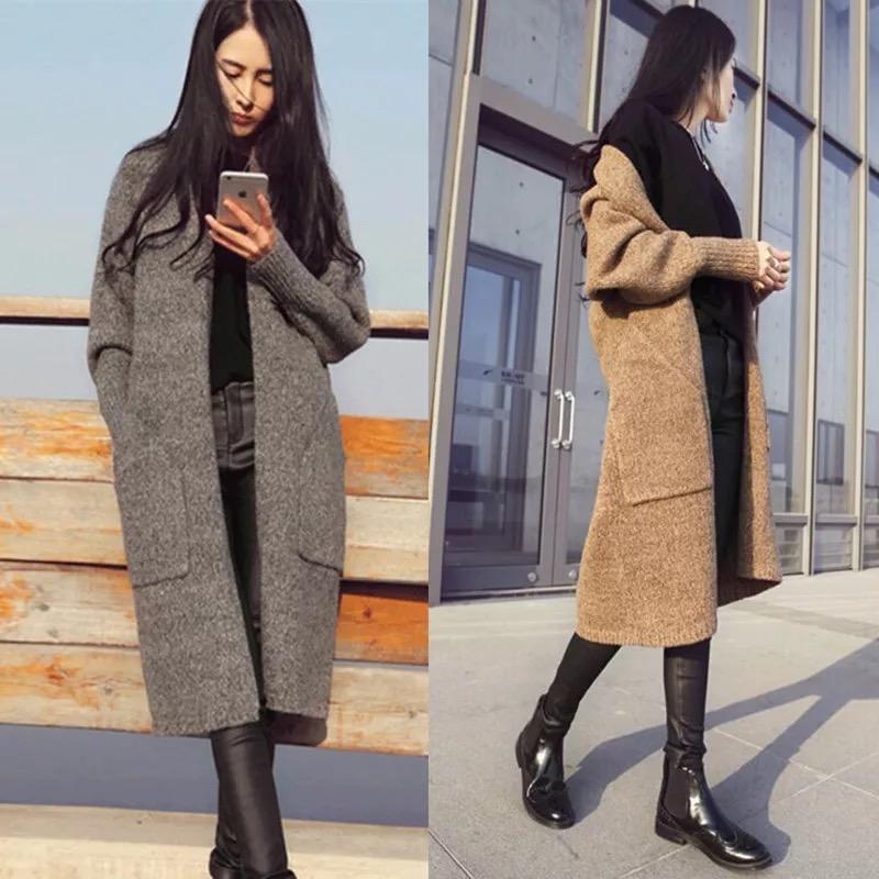 «Фирменные» свободные пальто женщин джемпер свитер карман приливные смешивания в кошельки долго складной цвет ретро мягкий