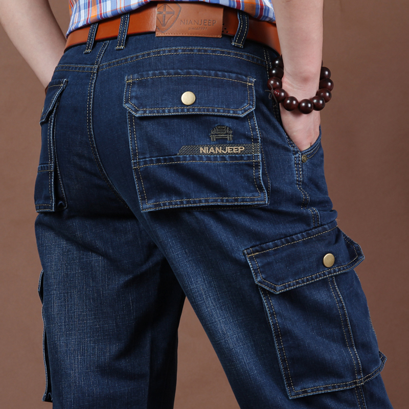 (用5元券)秋季新款吉普盾多口袋牛仔裤时尚多袋裤大码宽松直筒男裤工装裤潮