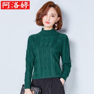秋冬半高领羊毛衫女套头短款韩版长袖百搭时尚纯色打底毛衣针织衫