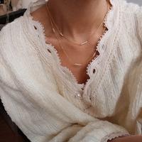 TWOR/手工定制天然小珍珠锁骨链 长项链多层简约复古精致原创