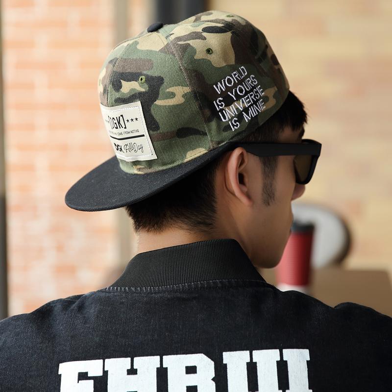 熱牧 字母貼布嘻哈迷彩棒球帽夏天軍訓遮陽防曬男士平沿帽子
