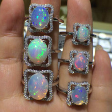 The new new goods Natural opal 925 silver inlaid opal ring