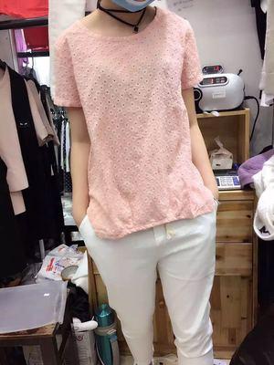 2016夏季新款女式圆领棉麻镂空打底衫复古潮流短袖T恤