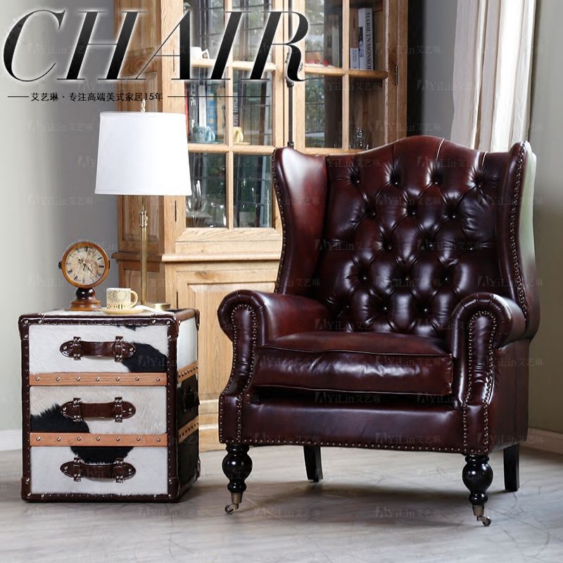 American leather top leather Italian imported wax leather retro single leisure tiger chair sofa 446