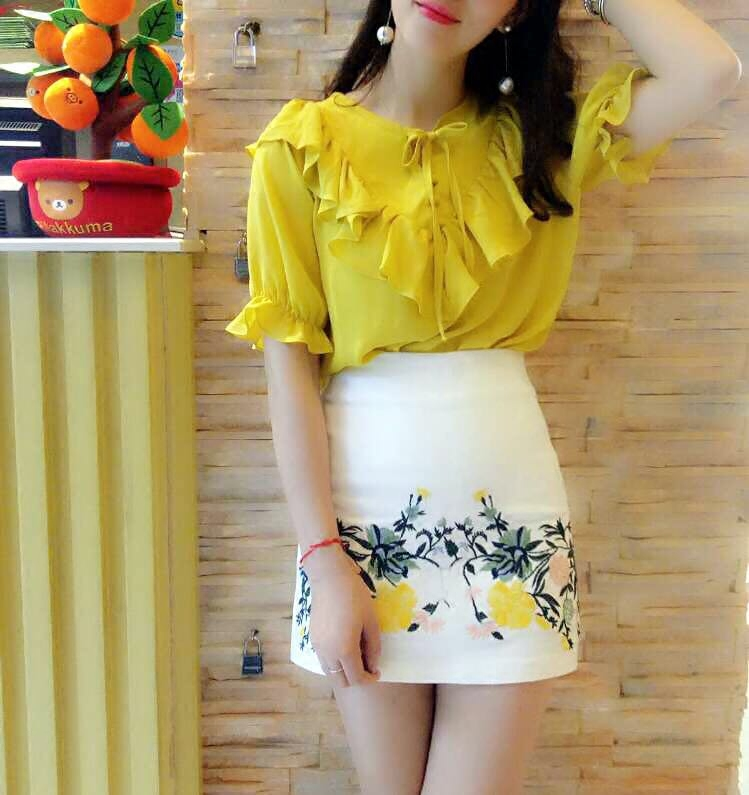 2021 summer new literature and art student lace up bow top female V-neck Ruffle Short Sleeve Chiffon shirt