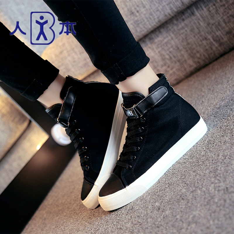 New fall college flat bottomed womens high top canvas shoes Velcro buckle womens shoes student board shoes