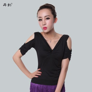 Women s strapless short sleeved T shirt Adult Latin dance clothing square dance clothing new clothes and Dan Kai