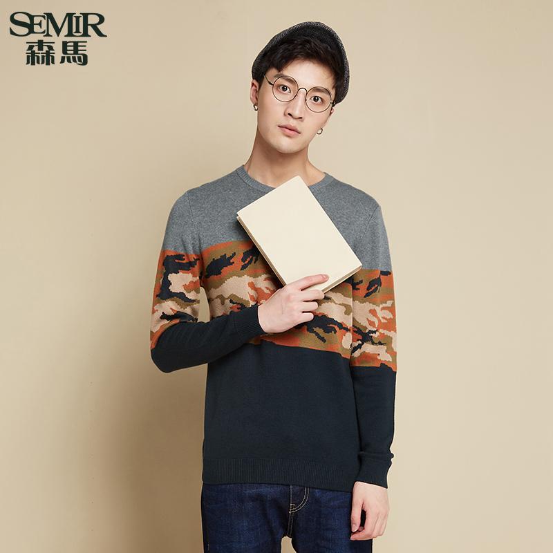 森馬針織衫 秋裝 男士圓領撞色拚接迷彩套頭毛衫線衫