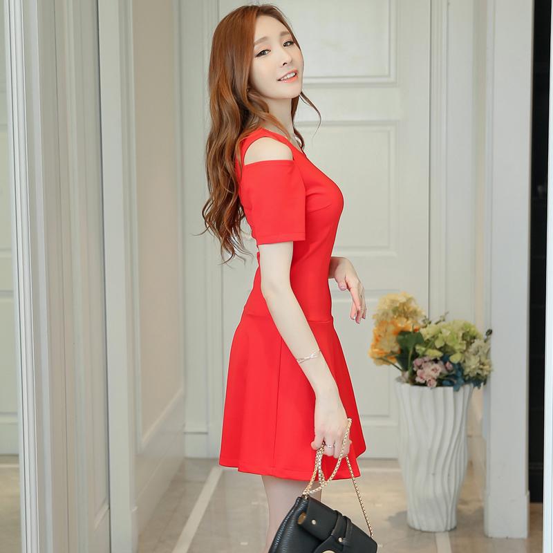 彩黛妃2016夏季新款女装韩版时尚针织气质修身显瘦打底连衣裙