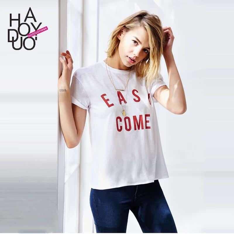 Новые европейские и американские письма Haoduoyi2016 свободно печатать на улицах весной и летом случайные короткие женские футболки