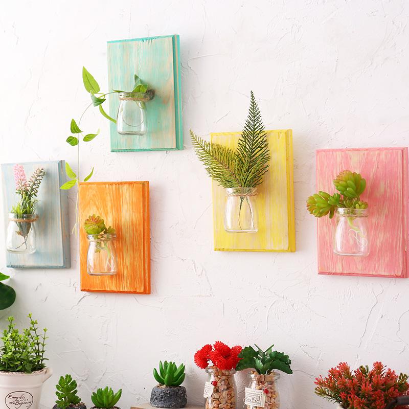 植物牆壁壁掛玻璃透明水培花瓶臥室客廳牆麵裝飾木板掛飾壁飾