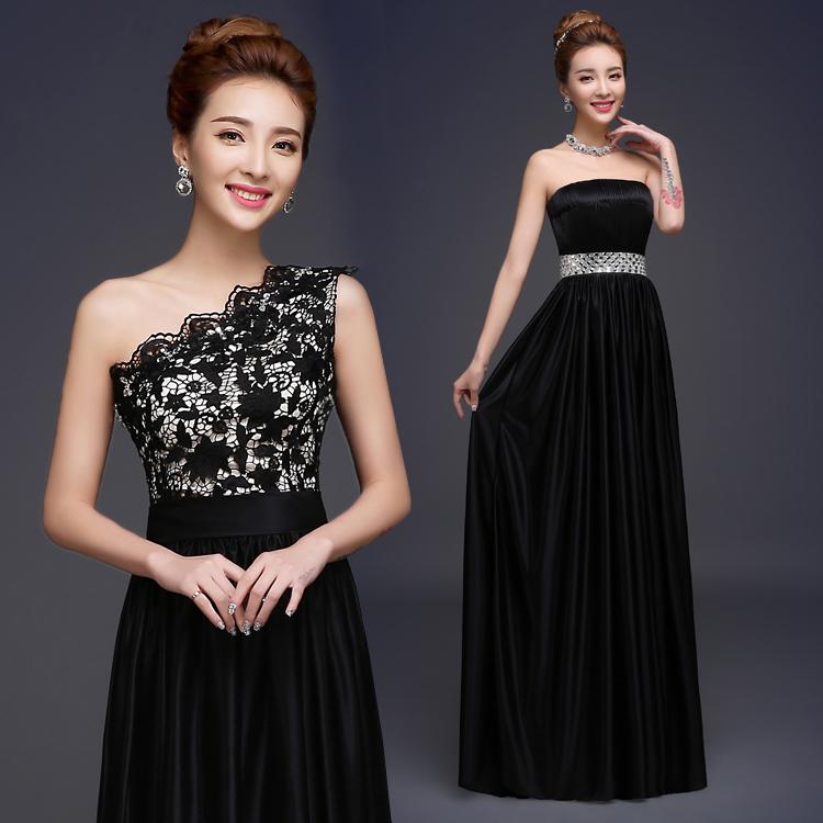 Новая пряжа плечо шоумен женился на одно плечо вечерние платья платья звезда Черный ужин платье
