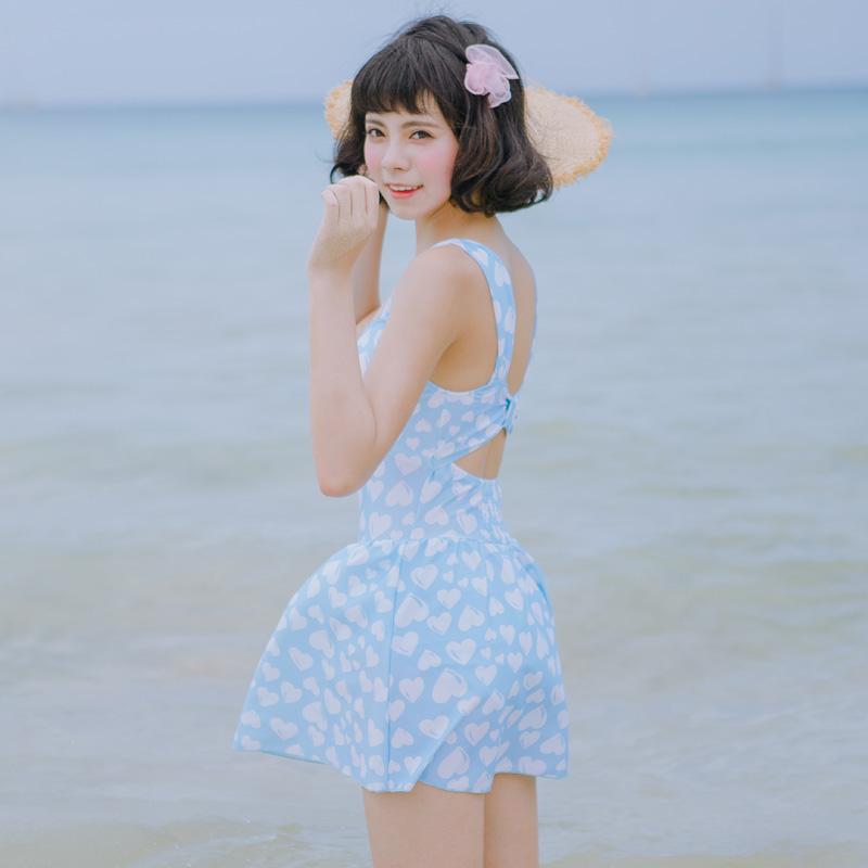 溫泉泳衣女 連體裙式遊泳衣少女學生保守顯瘦遮肚背心沙灘泳裝