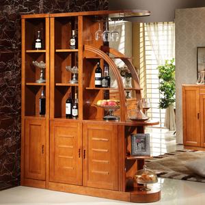 实木酒柜 现代中式客厅隔断屏风间厅柜 橡木双开门厅柜实木玄关柜