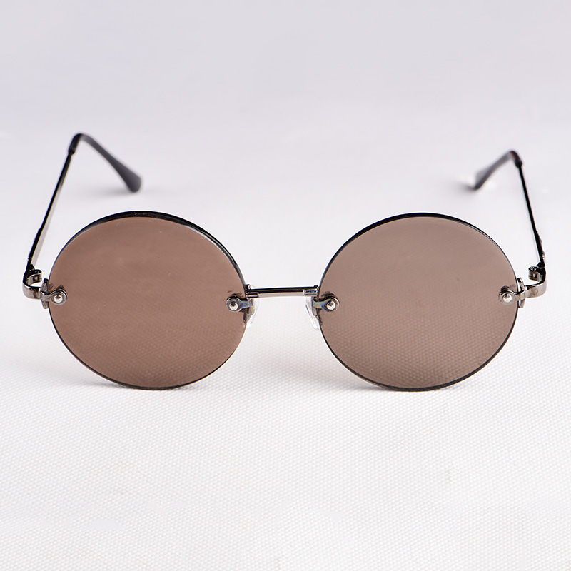 Natural crystal glasses retro round thickened plain tea crystal sunglasses frameless stone Sunglasses male