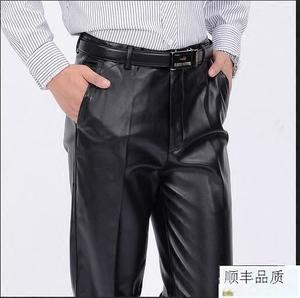 防风防寒高腰深裆男皮裤加厚加绒直筒大码超真皮男装中老年人父母