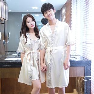 韩版夏季男女长款浴袍薄款情侣睡衣冰丝绸性感吊带睡袍两件套睡裙