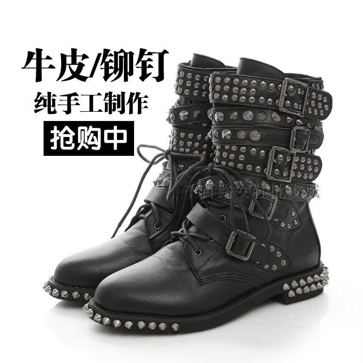 European station punk rivet boots leather short boots low heel Martin boots thick heel motorcycle boots wolf proof large lace up womens Boots