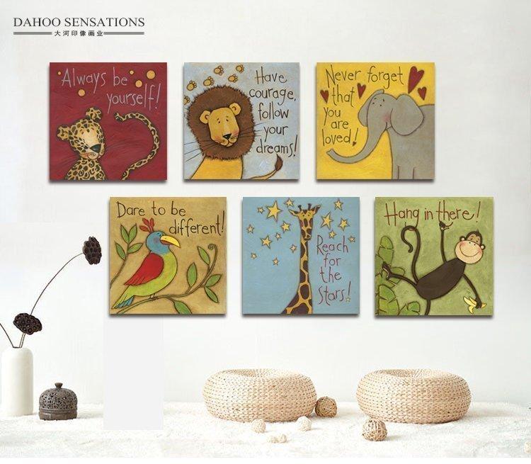 Современный простой спальня без рамы картину мультфильм про животных ребенок дом картины гостиная декоративный фреска магазин фото стена живопись
