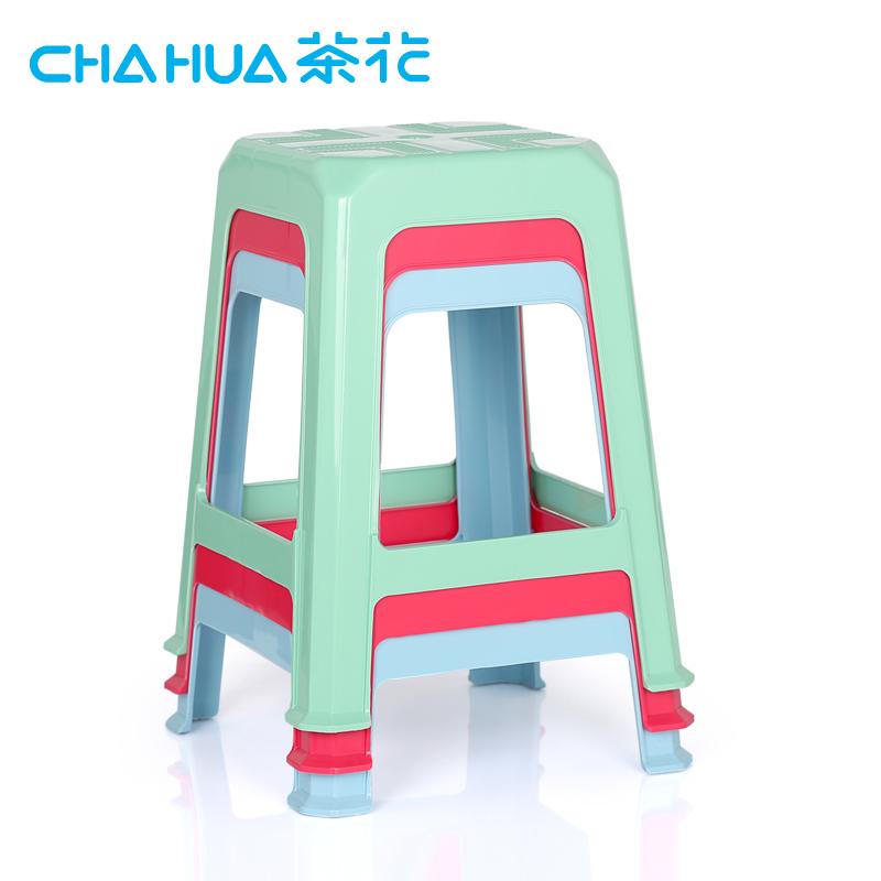 茶花塑料凳家用板凳加厚折疊凳高凳 餐桌凳換鞋凳居家椅子防滑