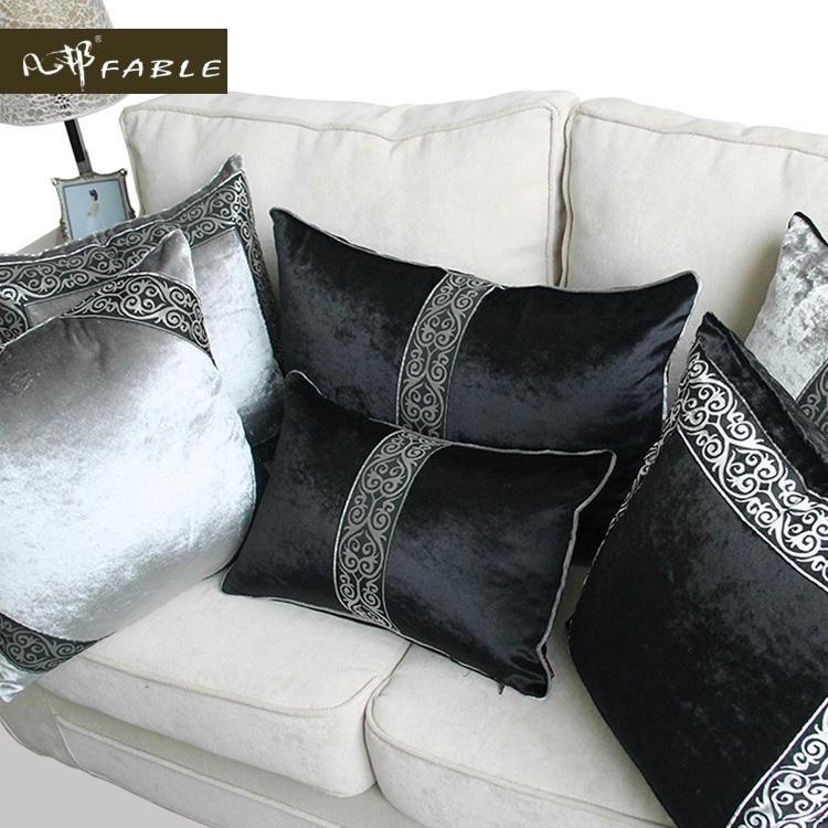 ~凡邦~抱枕沙發靠墊辦公室床頭靠汽車歐式奢華黑灰花邊靠枕包郵