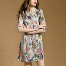 2015 summer new retro national culture quality 5 minutes of sleeve waist 502294 printed pure silk dress