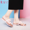 / By Ai and flowers slippers 2017 summer new crystal slippers platform sandals flat jelly shoes