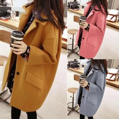 Новый корейский свободные осенью и зимой плюс размер женщин одежда шерстяные ткани пальто slim тонкий Длинные шерстяные пальто