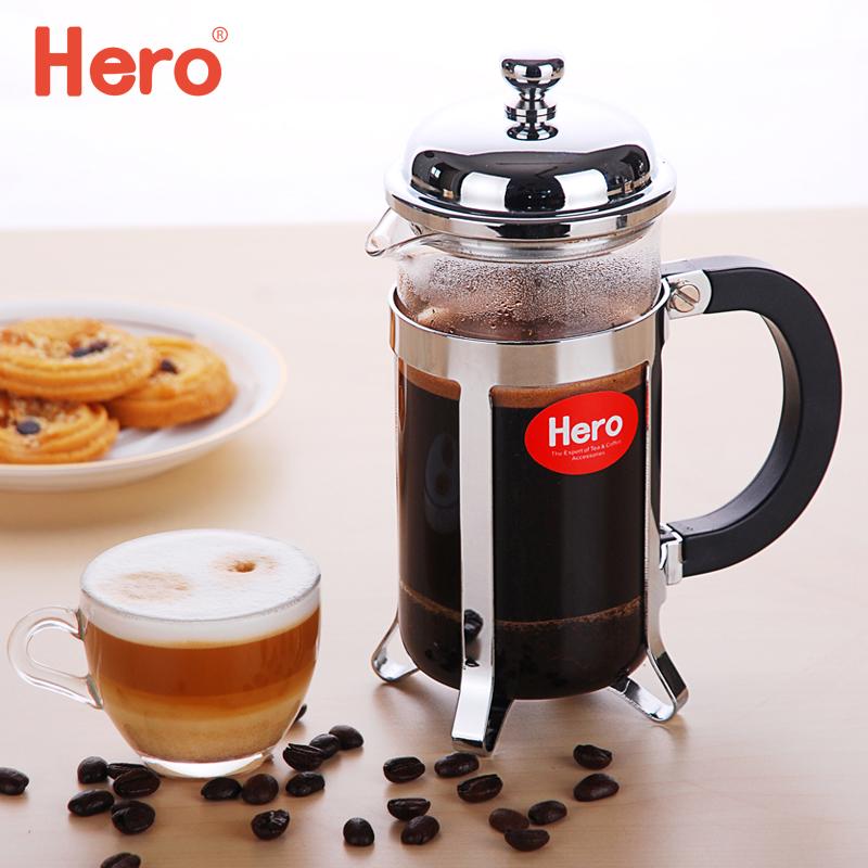 Hero франция пресс горшок нержавеющей стали кофе горшок домой французский порыв чай устройство кофе фильтр пресс горшок стекло фильтрация чашка