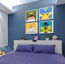 Children room adornment bedroom the head of a bed hangs a picture background wall metope draw cartoon animals living room wall paintings on the wall