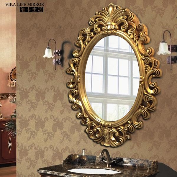 維卡 歐式鏤空浴室鏡梳妝鏡橢圓壁掛玄關掛鏡衛生間鏡子衛浴鏡