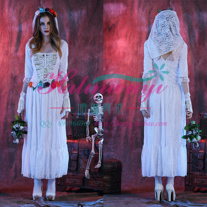 万圣节服装女成人鬼新娘 僵尸骷髅女巫公主裙吸血鬼角色扮演服