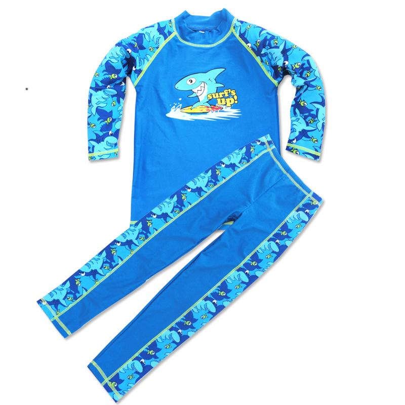 2016中童兒童泳衣男童防曬衣男大童長袖長褲男童衝浪遊泳衣