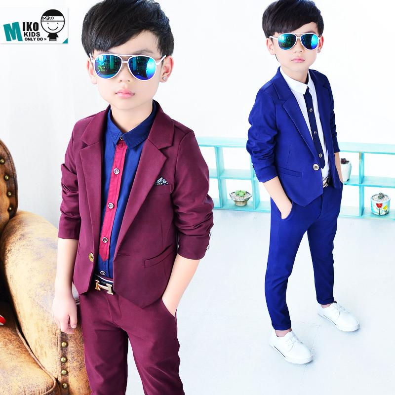 韩版潮童装 秋季新款男童小西装套装 儿童西服两件套花童礼服