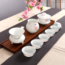 Kung fu tea set ceramic hand lotus office tureen tea tea cups of a complete set of blue and white gift box