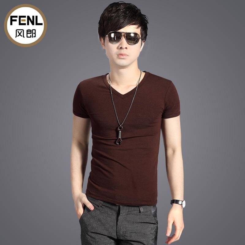 男士-V领简约纯色短袖T恤