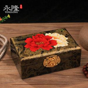 平遥手工彩绘木质漆器首饰盒结婚礼物带锁实木收纳新婚礼品创意盒