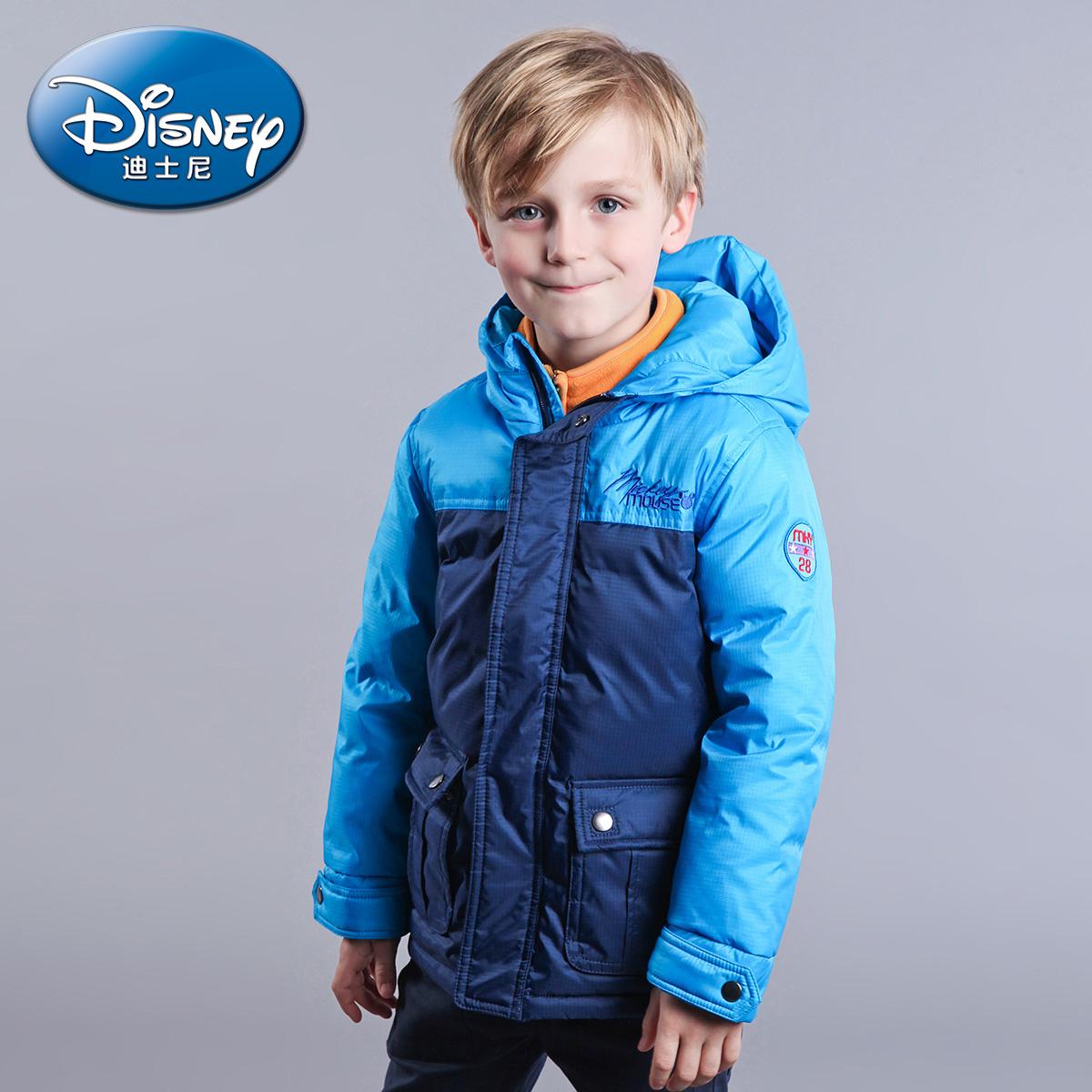Disney Детская одежда Осень/Зима новая мода для мальчиков с вниз пальто длиной цвет мозаики движения в ЧАО
